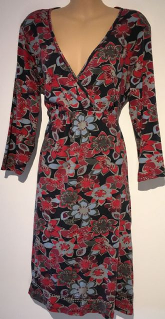MANTARAY RED CROSS OVER FLORAL PRINT JERSEY DRESS SIZE UK 12